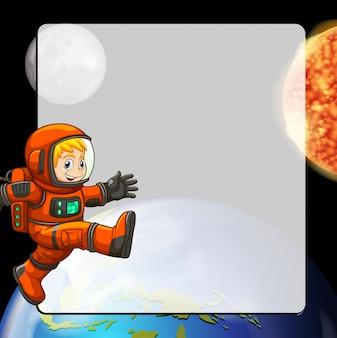Design de borda com astronauta no espaço