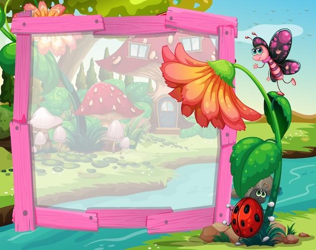 Design de borda com flor e insetos