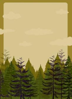 Design de borda com floresta de pinheiros