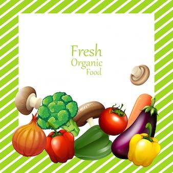 Design de borda com vegetais frescos