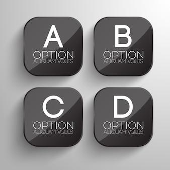 Design de botões de negócios com formato quadrado arredondado cinza