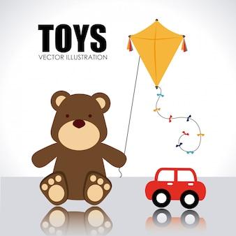 Design de brinquedos sobre ilustração vetorial de fundo branco