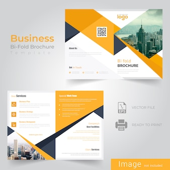 Design de brochura abstrata dobra bi amarelo