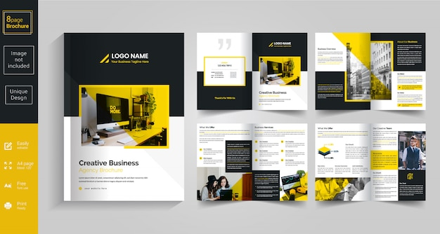 Design de brochura amarelo de 8 páginas