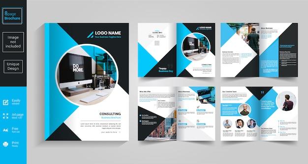Design de brochura azul de 8 páginas