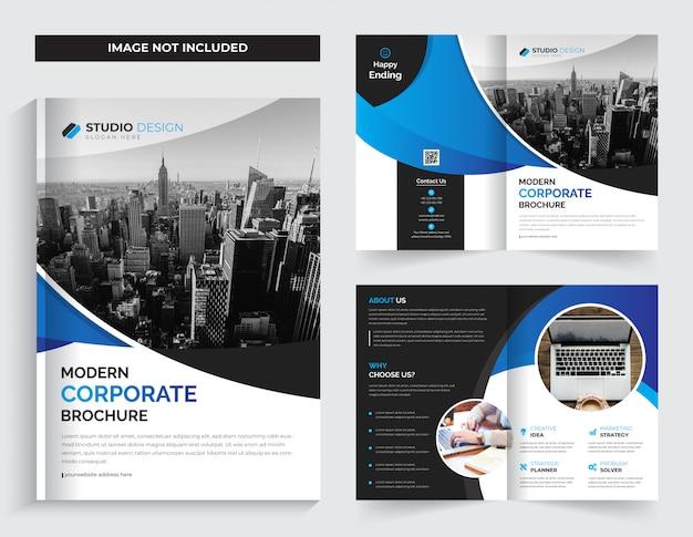Design de brochura bi-fold de negócios corporativos