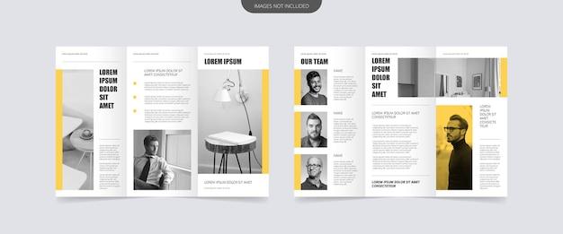 Design de brochura com três dobras de estilo mínimo
