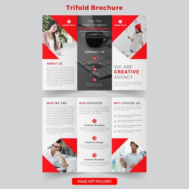 Design de brochura com três dobras de profissionais de negócios