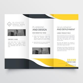 Design de brochura com três dobras moderno preto amarelo profissional