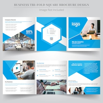 Design de brochura com três dobras quadradas corporativas