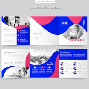 Design de brochura com três dobras quadradas