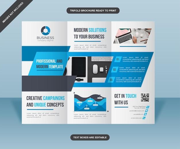 Design de brochura comercial com três dobras em azul com formas acentuadas