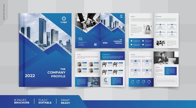 Design de brochura comercial de 8 páginas
