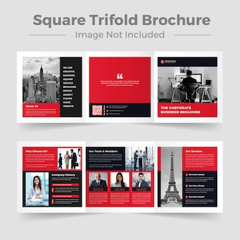 Design de brochura comercial dobrável em três partes quadrada