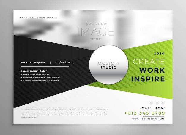 Design de brochura comercial em tom verde e preto