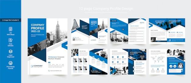 Design de brochura comercial ou modelo de design de perfil de empresa