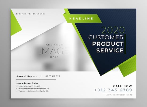 Design de brochura comercial verde profissional