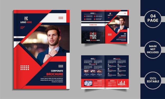 Design de brochura corporativa de 4 páginas com formas e dados criativos em um fundo branco.