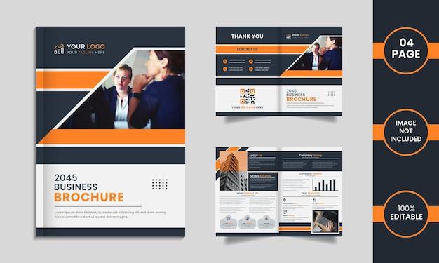 Design de brochura corporativa de 4 páginas com formas exclusivas em um fundo branco.