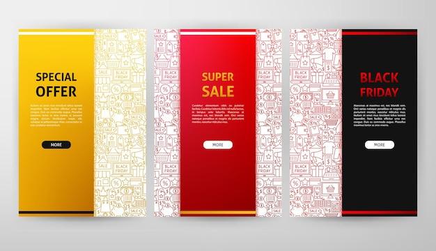 Design de brochura de black friday. ilustração em vetor de banner de contorno.