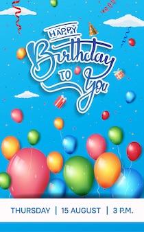 Design de brochura de feliz aniversário para celebração com elemento de aniversário colorido