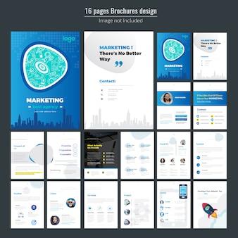 Design de brochura de marketing de 16 páginas para negócios