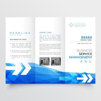 Design de brochura de negócios com três dobras azul abstrato