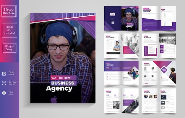 Design de brochura de negócios de 16 páginas