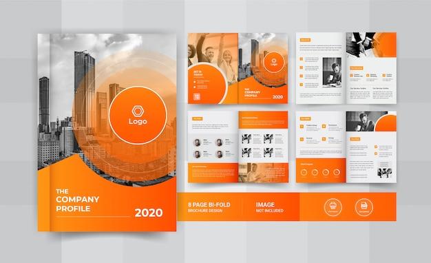 Design de brochura de negócios de 8 páginas amarelo