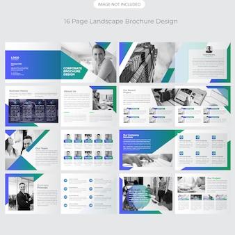 Design de brochura de paisagem de 16 páginas