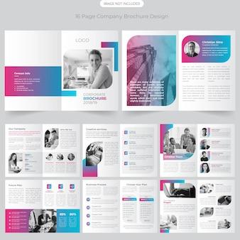 Design de brochura de perfil de empresa de 16 páginas