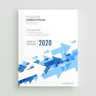 Design de brochura de relatório anual com setas azuis