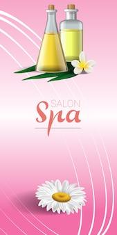 Design de brochura de spa com camomila, flor tropical branca e óleo de massagem