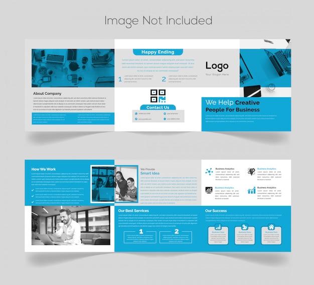 Design de brochura quadrada com três dobras simples