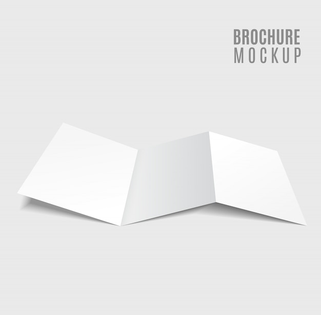 Design de brochura tri-fold em branco isolado em cinza