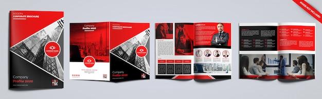 Design de brochura vermelho e preto de 6 páginas
