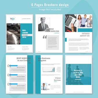 Design de brochuras corporativas de 6 páginas