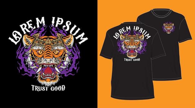 Design de cabeça de tigre balinesa para camiseta preta