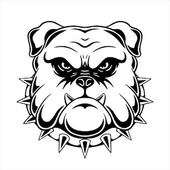 Design de cabeça pitbull com estilo de desenho à mão