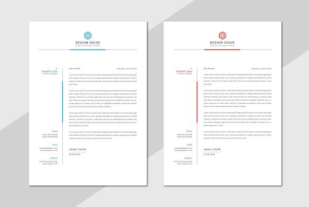 Design de cabeçalho de carta simples e limpo
