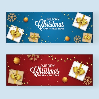 Design de cabeçalho ou banner azul e vermelho decorado com vista de cima caixas de presente enfeites dourados, flocos de neve e guirlanda de iluminação para feliz natal e ano novo