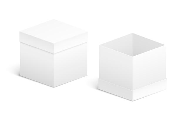 Design de caixa aberta e fechada. objetos brancos em branco