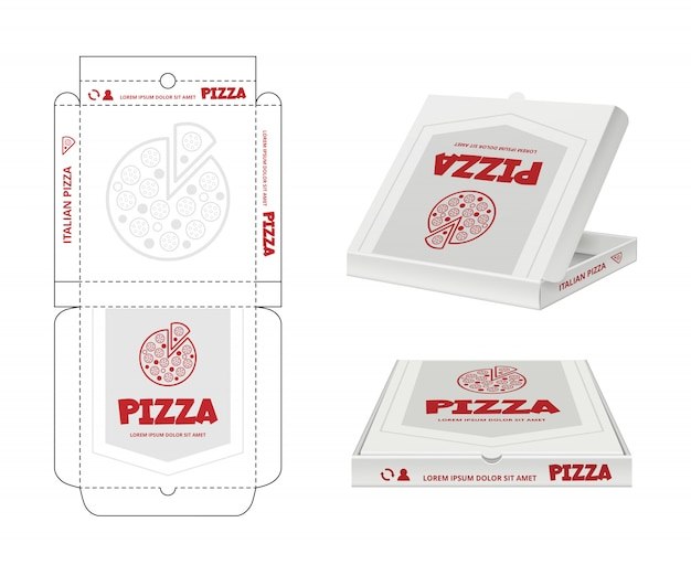 Design de caixa de pizza. desembrulhe o modelo realista de pacote de pizza de fastfood