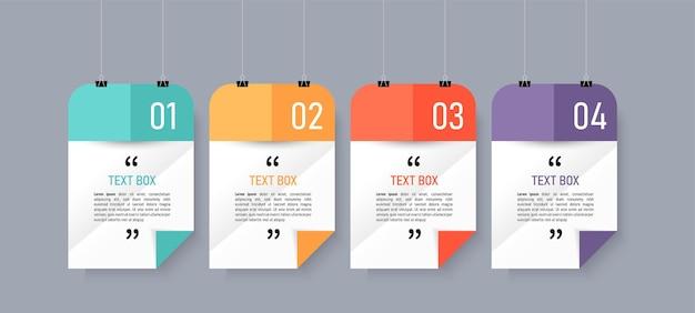 Design de caixa de texto com infográfico de papéis de nota Vetor Premium