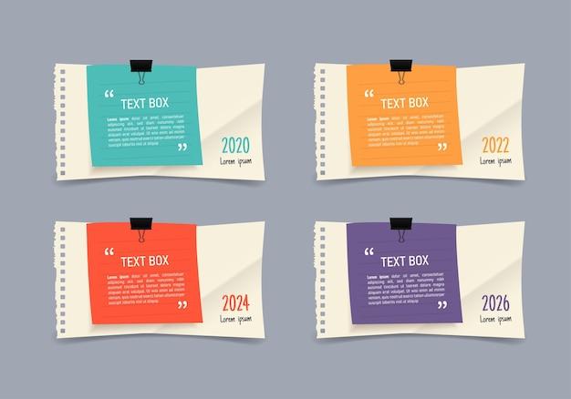 Design de caixa de texto com infográfico de papéis de nota