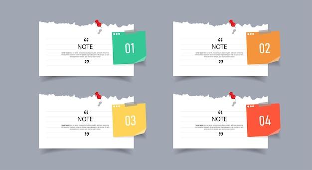 Design de caixa de texto com modelos de papel de nota