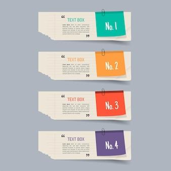 Design de caixa de texto com papéis de nota Vetor Premium