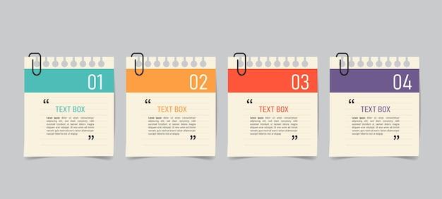 Design de caixa de texto com papéis de nota.