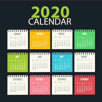 Design de calendário 2020 pronto para impressão