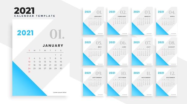 Design de calendário azul 2021 em estilo simples